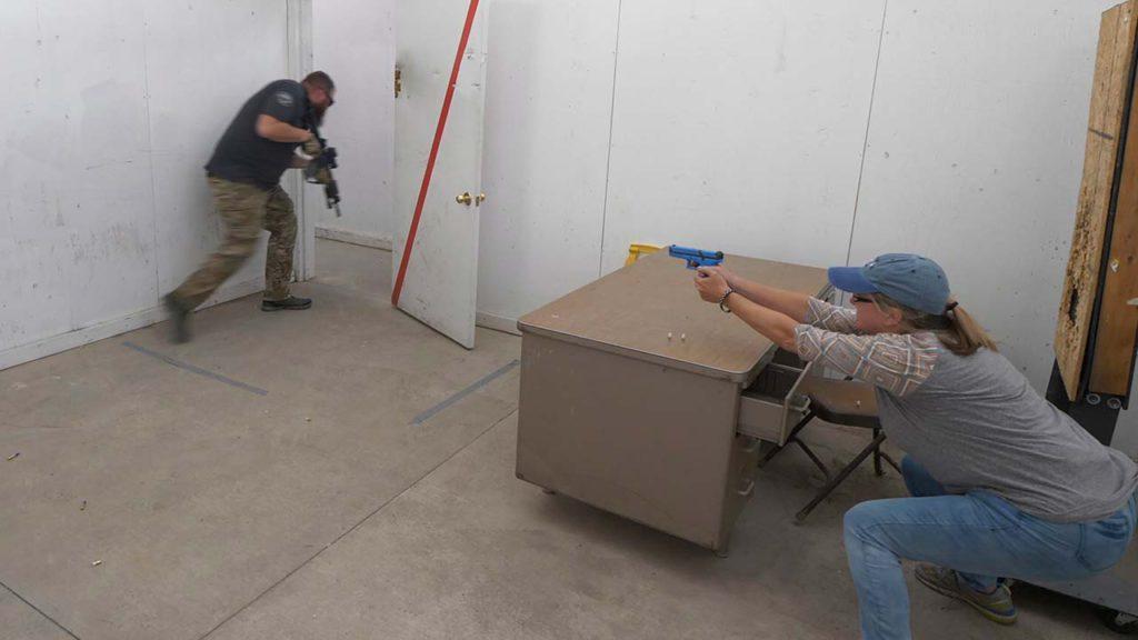 A Utah school teacher training for an active shooter situation