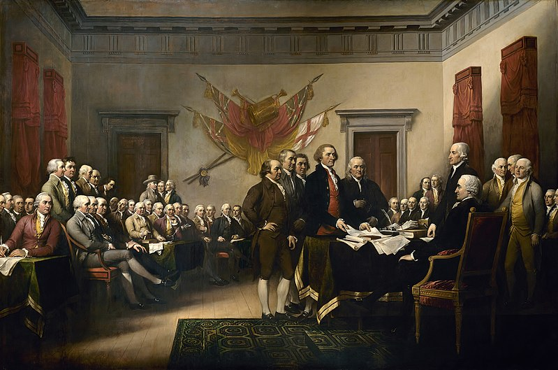 John Trumbull's 1819 painting of the drafting of the Declaration of Independence