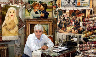 Photo of a carpet merchant in Iran