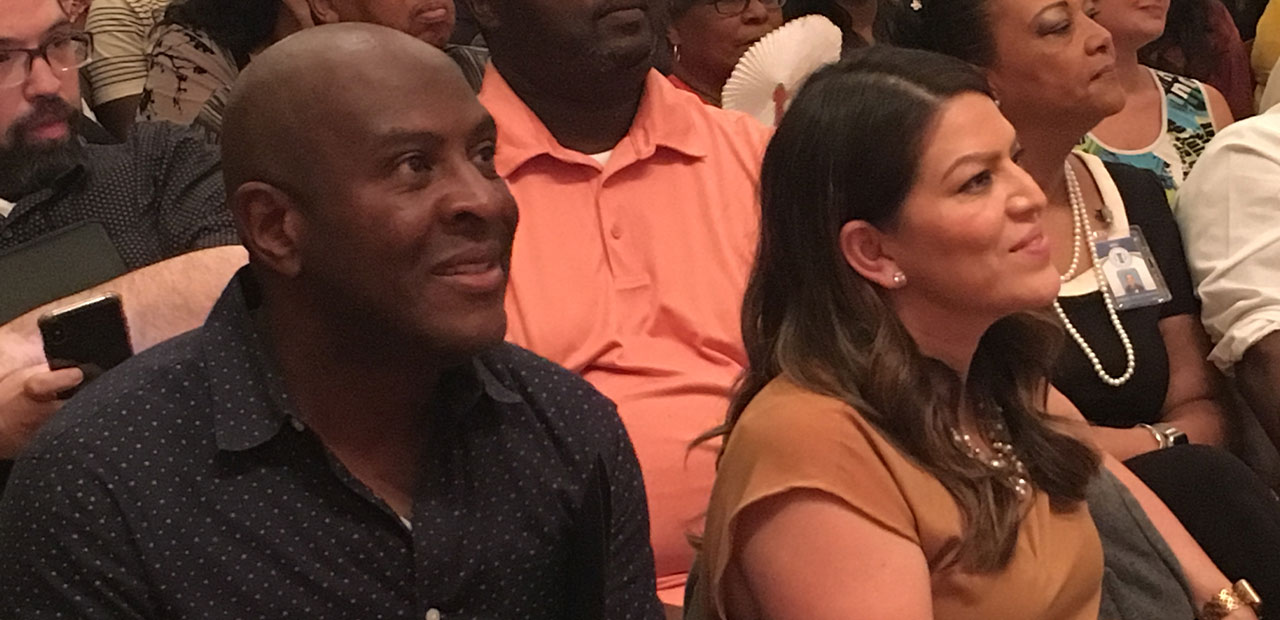 Terance Frazier (left) and Fresno councilwoman Esmeralda Soria (right) listen to a speech by Cornel West at Fresno City College on Aug. 27, 2019 (GV Wire/David Taub)