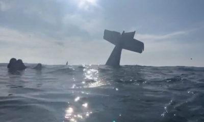 Photo of a plane crash in Half Moon Bay