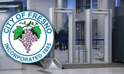 Composite of two security entry points and the city of Fresno logo