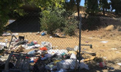photo of freeway trash along highway 41 in Fresno