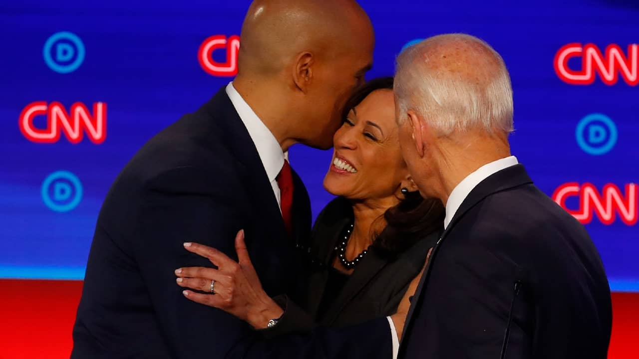 Photo of Cory Booker, Kamala Harris, and Joe Biden