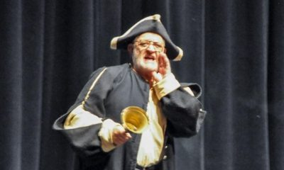 Photo of Raymond Ensher serving as the Town Crier for Valley Town Hall