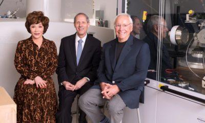 Photo of the Resnicks with Caltech President Thomas F. Rosenbaum