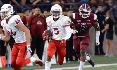 Photo of Fresno State's Jalen Cropper running with the football