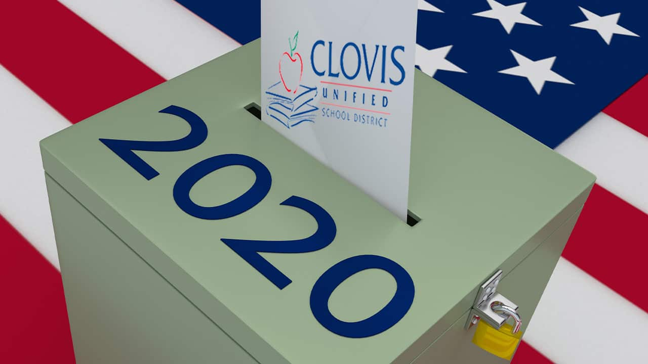 Composite of Clovis Unified logo and a 2020 ballot box