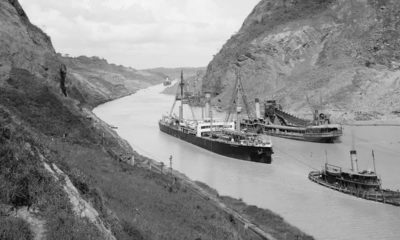 Photo of boats going through the Panama Canal