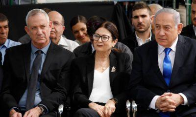 Photo of Benny Gantz, Esther Hayut, and Prime Minister Benjamin Netanyahu