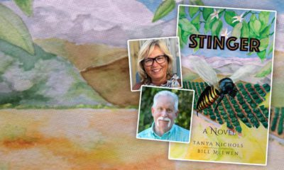 """Composite image of the novel """"Stinger"""" and portraits of authors Tanya Nichols and Bill McEwen"""