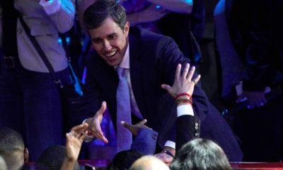Photo of Beto O'Rourke greeting supporters