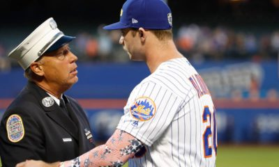 Photo of NYC Fire Department greets Mets' Pete Alonso