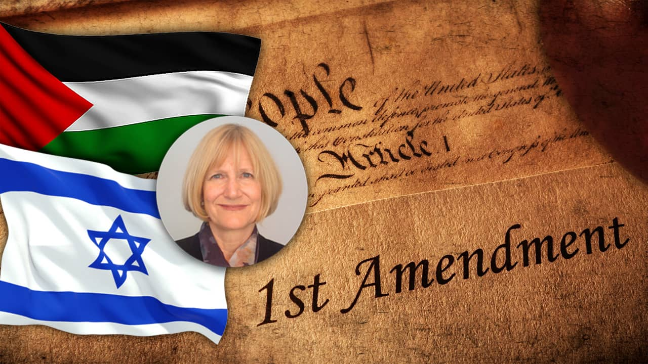 Collage of the First Amendment, Palestinian and Israeli flags, and a portrait of Alison Weir