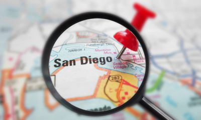Photo of a map zoomed in on the city of San Diego, Ca.