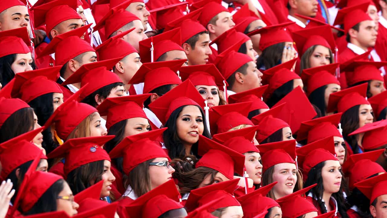 Photos of students graduating high school