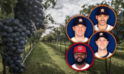 Portraits of the Astros' Alex Bregman, Carlos Correa and Kyle Tucker, and the Nationals' Fernando Rodney against a field of grapes