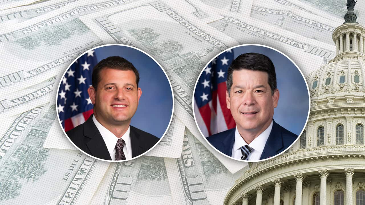 composite image of David Valadao, TJ Cox and the U.S. Capitol