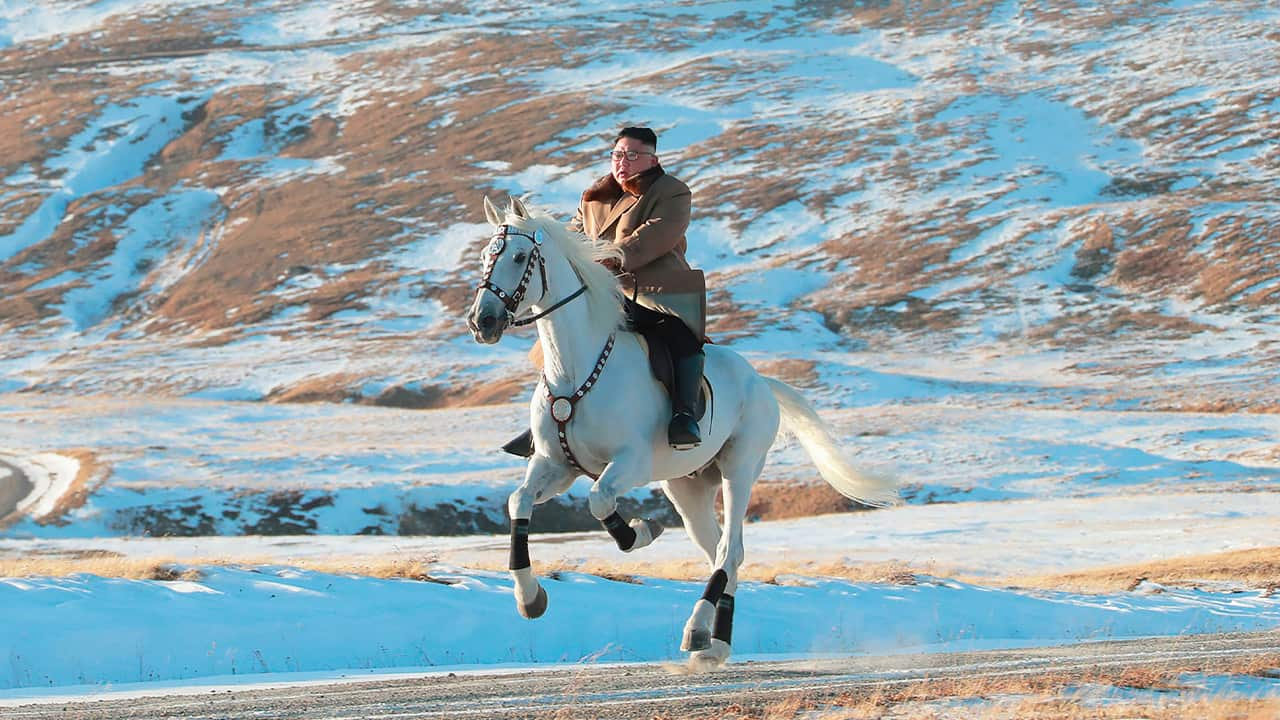 Photo of Kim Jong Un riding a white horse