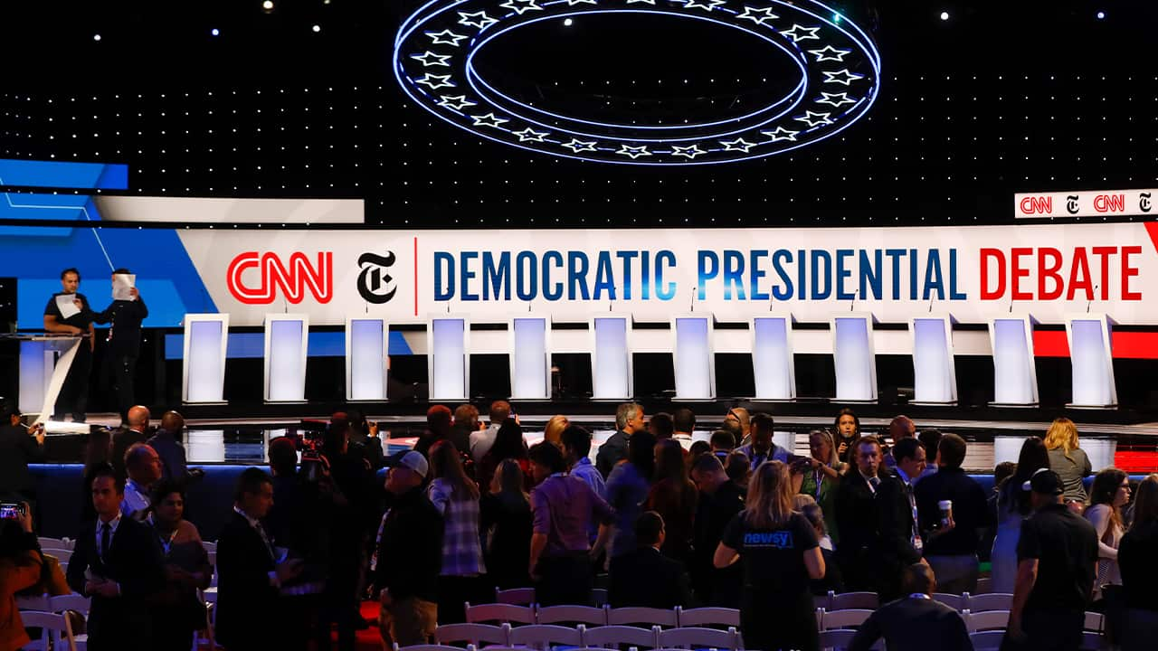 Photo of the stage being prepared for the Democratic presidential primary debate
