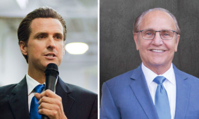 composite images of Gavin Newsom and Lee Brand