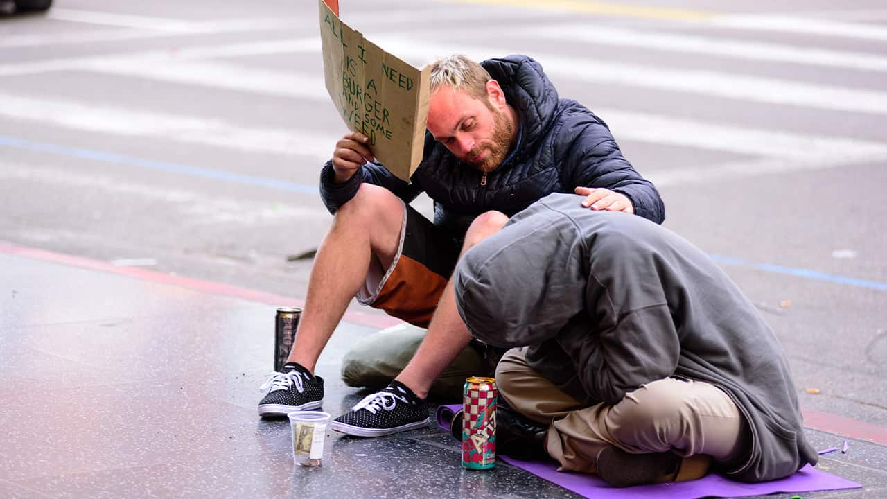 Photo of people begging in Hollywood