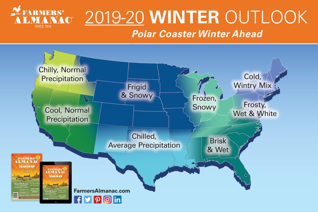 2019-20 winter weather forecast for the U.S. from Farmer's Almanac