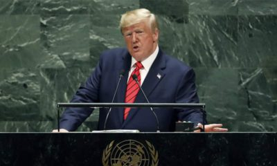 Photo of President Donald Trump speaking at the United Nations
