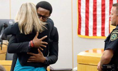 Photo of Amber Guyger hugging Brandt Jean