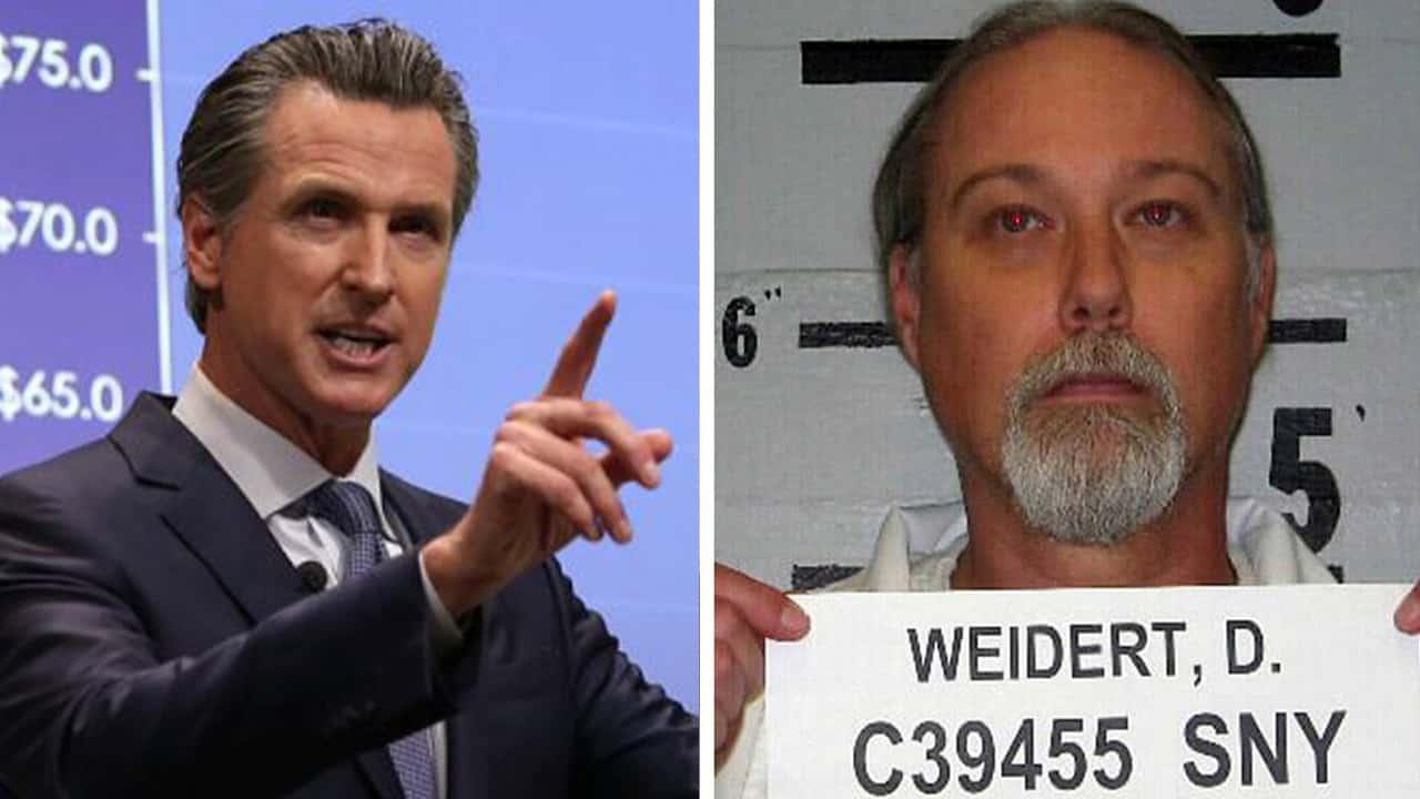 Composite image of Gov. Gavin Newsom and convicted murderer David Weidert