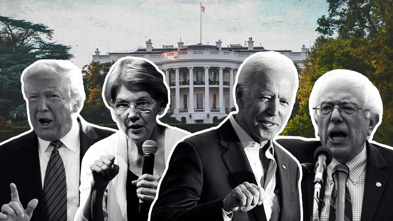 Photo collage of President Donald Trump, Elizabeth Warren, Joe Biden, and Bernie Sanders