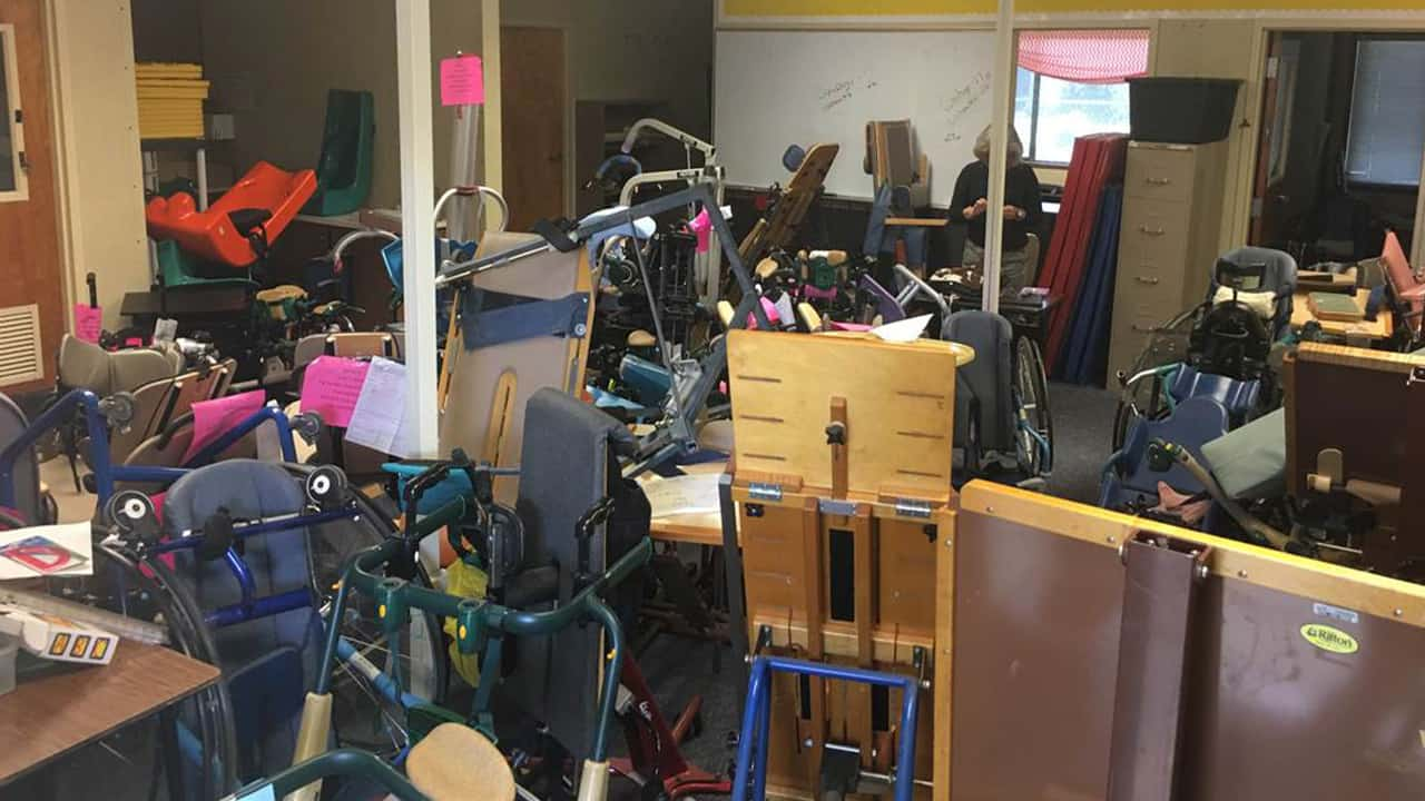 Photo of a special ed storage and teachers office at Figarden Elementary School before it was cleaned up.