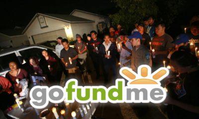 Composite image of gofundme account and a Fresno mass shooting vigil