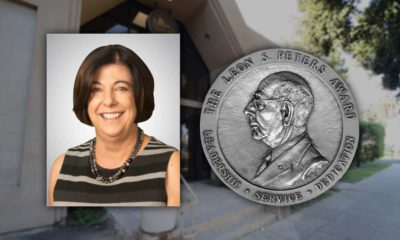 Composite image of Karen Musson and the Leon S. Peters Award medal