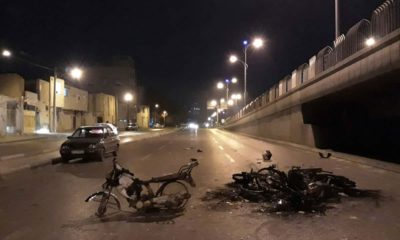 Photo of scorched motorcycles in Iran