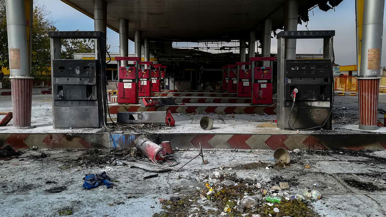Photo of a gas station that was burned in Iran