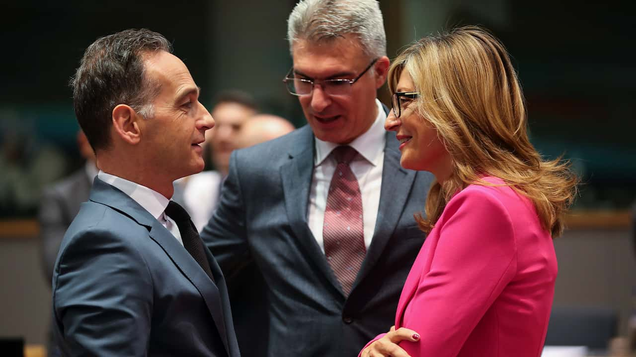 Photo of Foreign Minister Heiko Maas and Foreign Minister Ekaterina Zaharieva and Foreign Minster Carmelo Abela