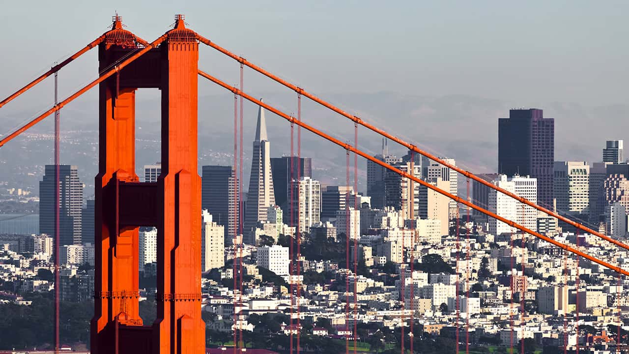Photo of San Francisco skyline and Golden Gate Bridge