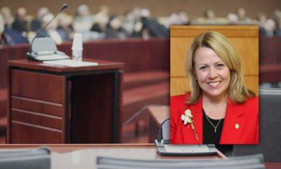 Composite photo of former DA Elizabeth Egan and a courtroom