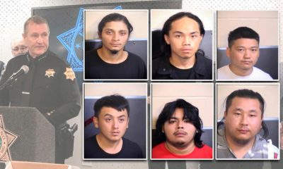 Montage of Fresno Police Chief Andy Hall and six suspects arrested in the slayings of four Hmong men