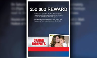 Composite of a murder victim with her child and $50,000 reward headline