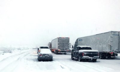 Photo of traffic stuck in snow in the Cajon Pass