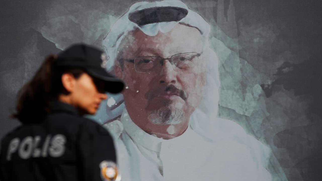 Photo of a picture of Jamal Khashoggi