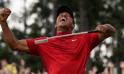 Photo of Tiger Woods celebrating