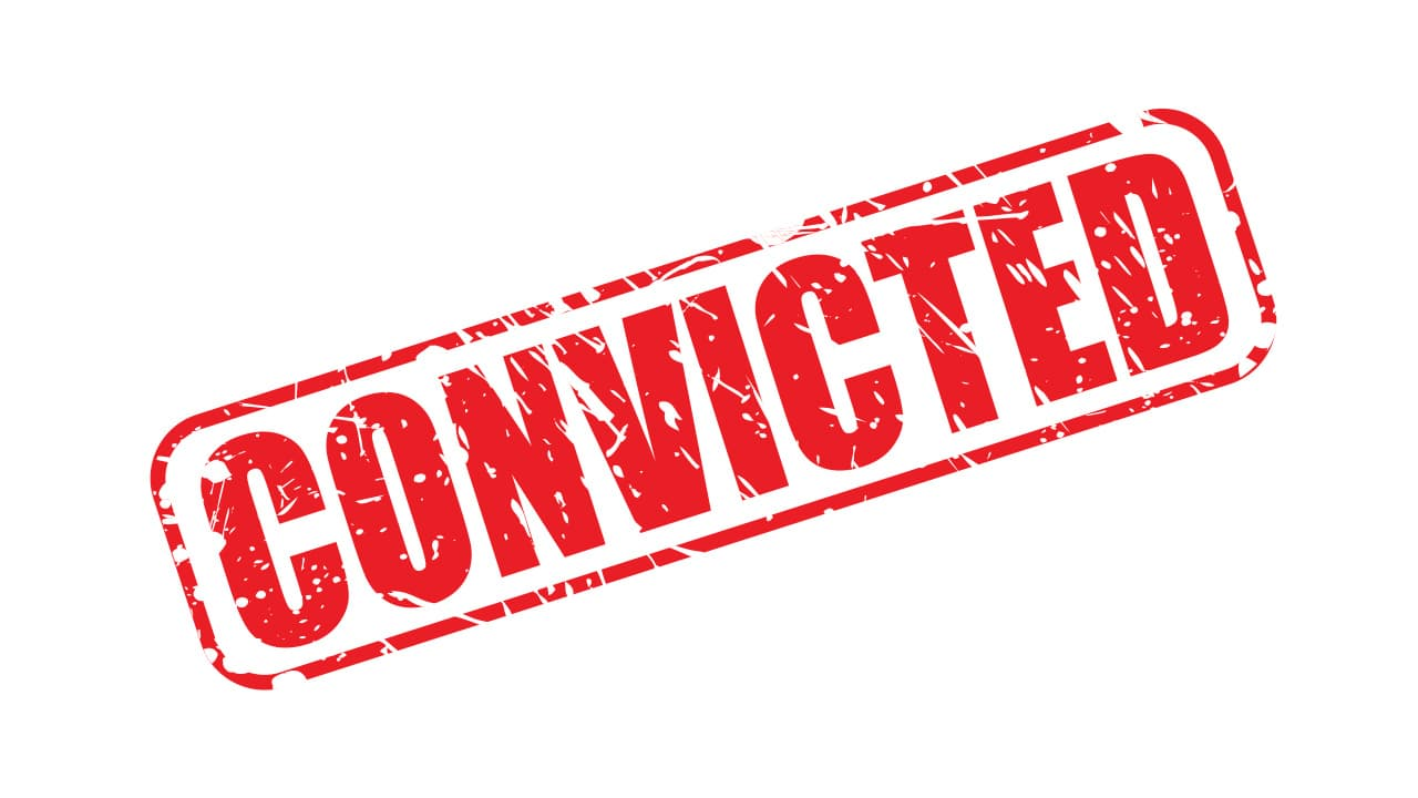 """The word """"convicted"""" in red against a white background"""