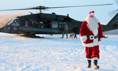 Photo of Santa Claus arriving in Napakiak, Alaska