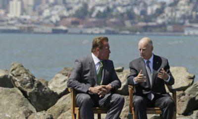 Photo of former Gov. Jerry Brown, right, and former Gov. Arnold Schwarzenegger