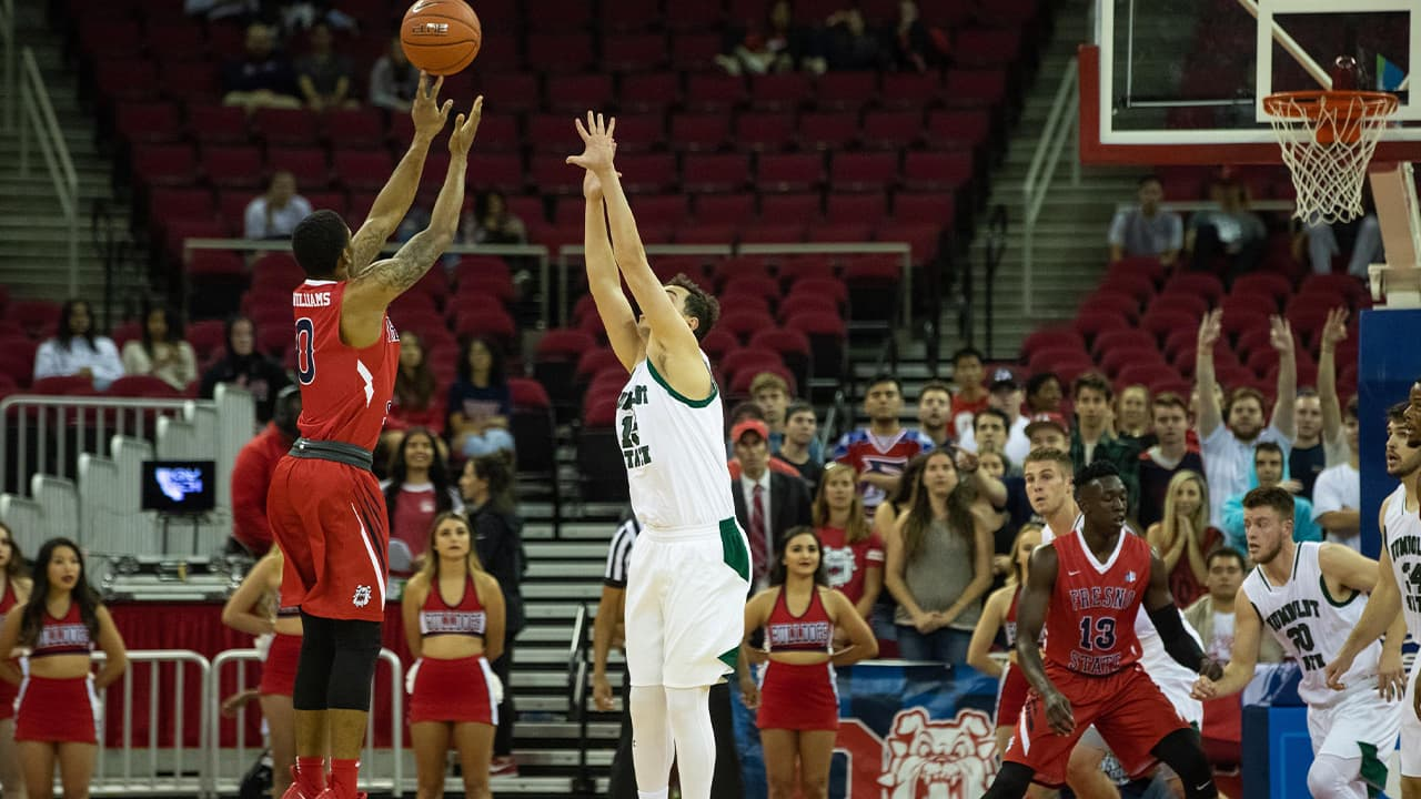 Photo of Fresno State's New Williams launching a 3-point shot