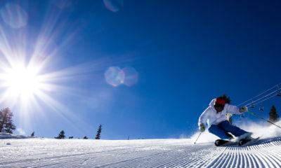 Photo of a skier coming down the slopes at China Peak