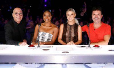"Photo of Howie Mandel, Gabrielle Union, Julianne Hough, Simon Cowell on the set of ""America's Got Talent"""